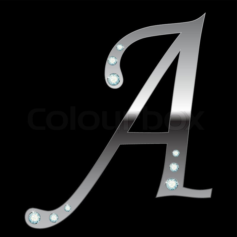 Vector Silver Metallic Letter A With Stripes Isolated