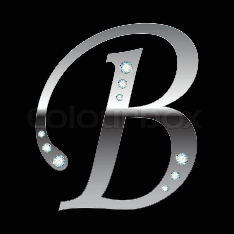 Vector silver metallic letter B with stripes isolated