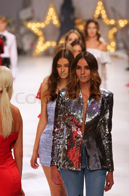 Editorial image of 'KYIV, UKRAINE - OCTOBER 15, 2016: Models walk on the catwalk during Fashion Show by Elena BURBA as part of 39th Ukrainian Fashion Week at Mystetskyi Arsenal in Kyiv, Ukraine'