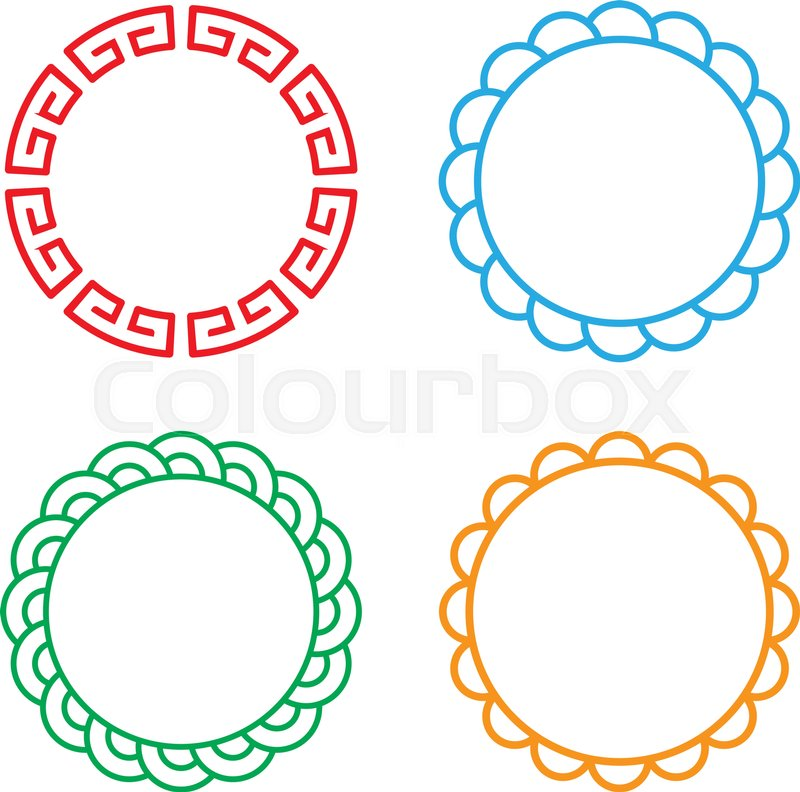 Classic Chinese circle window and photo frame, vector | Stock Vector ...