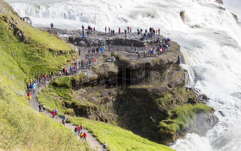 Stock image of 'ICELAND - July 26, 2016: Icelandic Waterfall Gullfoss'