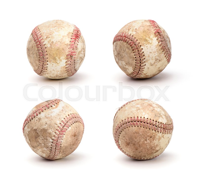 Stock image of 'Set of dirty baseball isolated on white background'