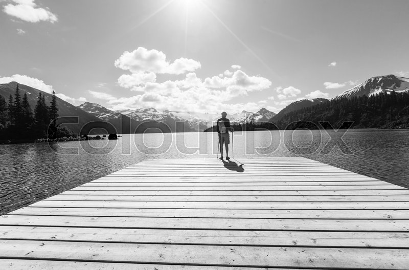 Stock image of 'Hike to turquoise waters of picturesque Garibaldi Lake near Whistler, BC, Canada. Very popular hike destination in British Columbia.'