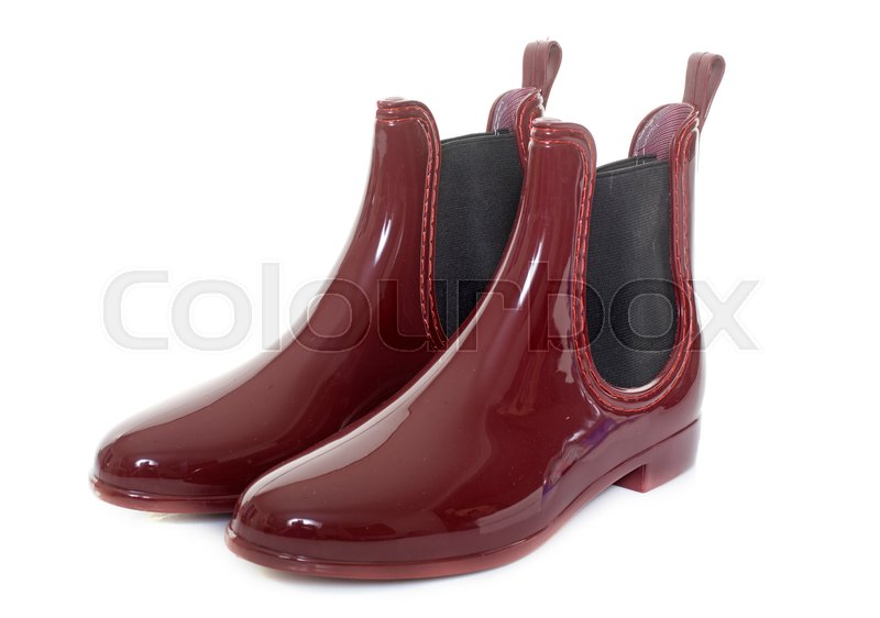 Stock image of 'wellington boot in front of white background'