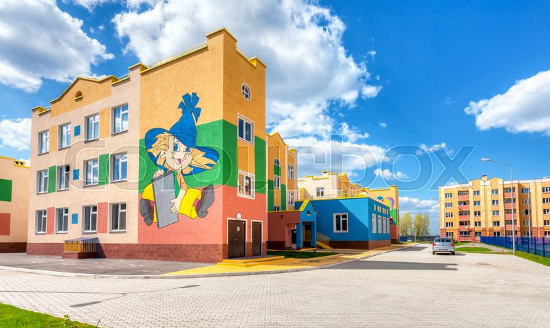 Editorial image of 'SAMARA, RUSSIA - MAY 11, 2015: New multicolored kindergarten in Residential District South City in summer sunny day '