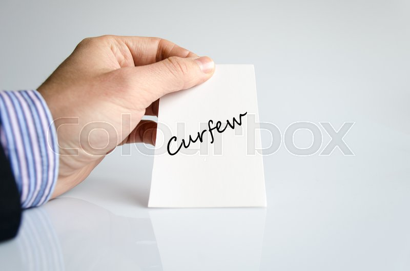 Stock image of 'Curfew text concept isolated over white background'