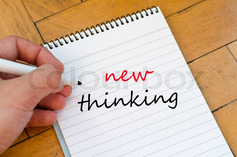 Stock image of 'New thinking text concept write on notebook'