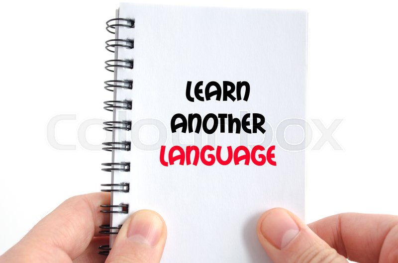 Stock image of 'Learn another language text concept isolated over white background'