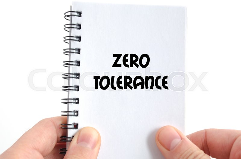 Stock image of 'Zero tolerance text concept isolated over white background'