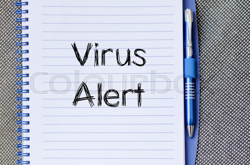 Stock image of 'Virus alert text concept write on notebook'