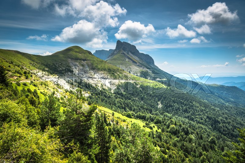 Stock image of 'Pyrenees mountains landscape in summer. Huesca, Agaron'