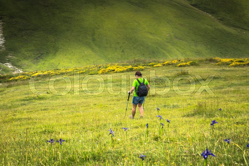 Stock image of 'Young traveler with backpack walking on the trail in mountains'