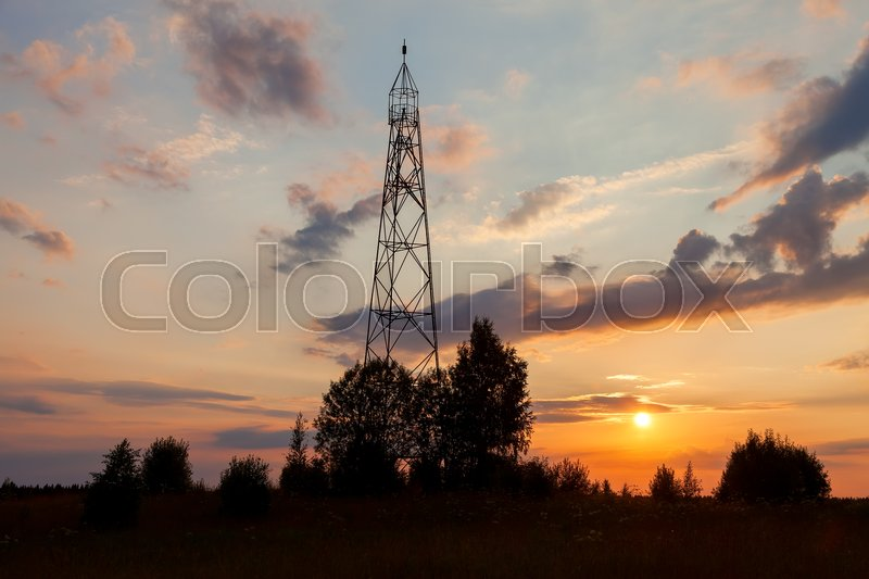 Stock image of 'Russian geodetic point on the sunset in summer day'