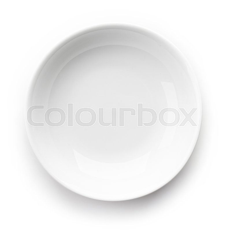 Stock image of 'White empty bowl isolated on white background, top view'