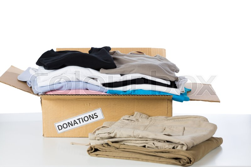 Stock image of 'Clothes donation box with white background'