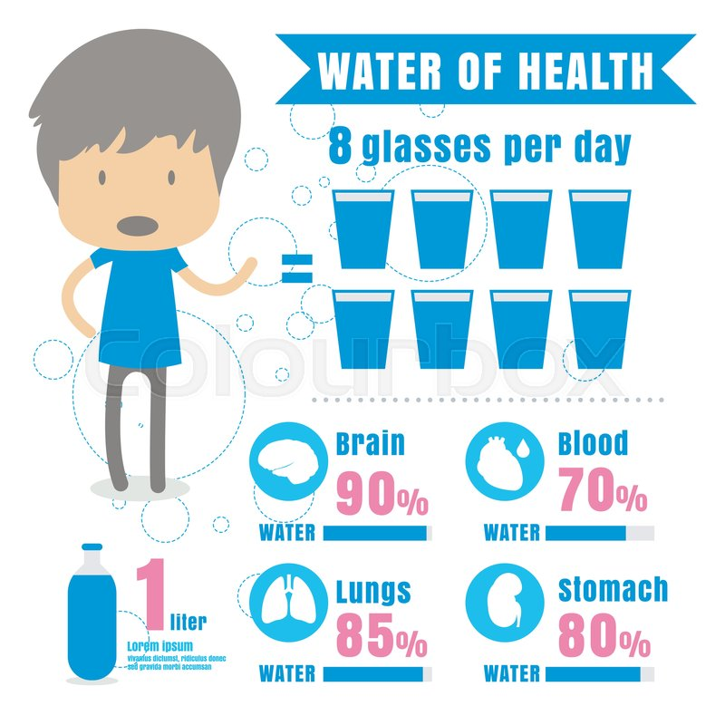 infographic benefit drink water body water concept vector