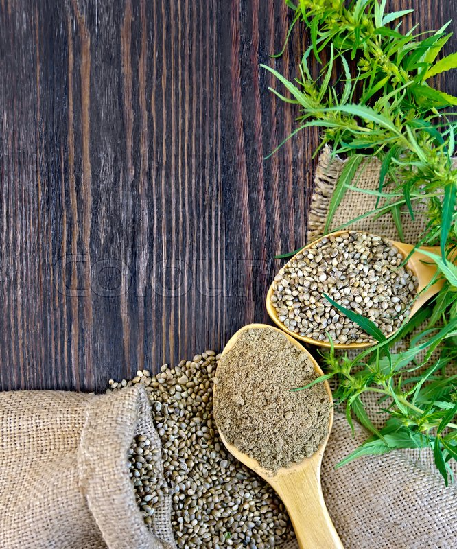 Stock image of 'Flour and hemp seeds in a spoon, green twigs of cannabis on sackcloth background on dark wooden board'