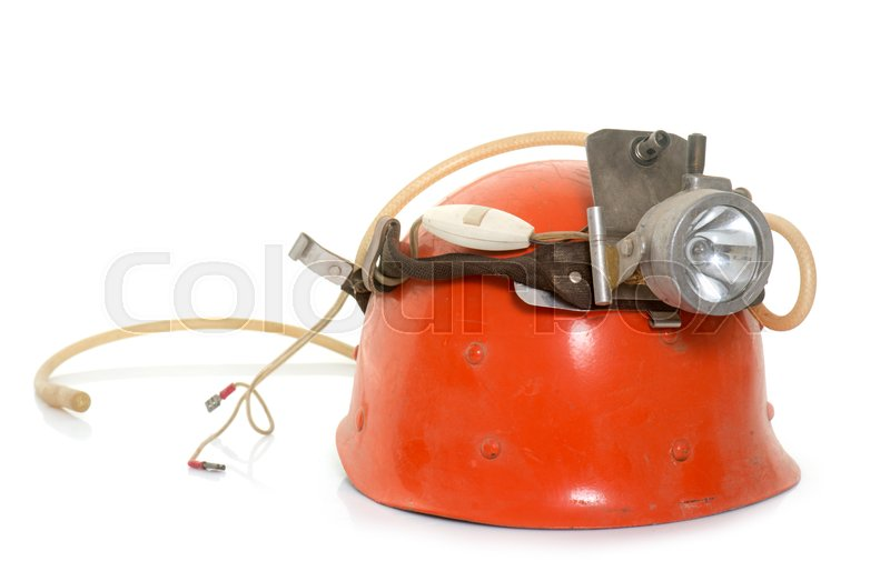 Stock image of 'speleologist helmet in front of white background'