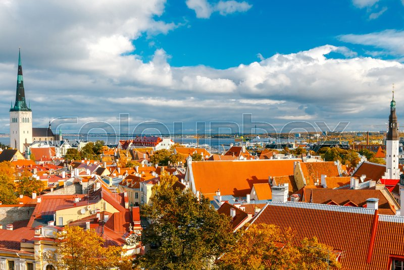 Stock image of 'Tallinn, Estonia. View of the old city, streets and rooftops from above.'
