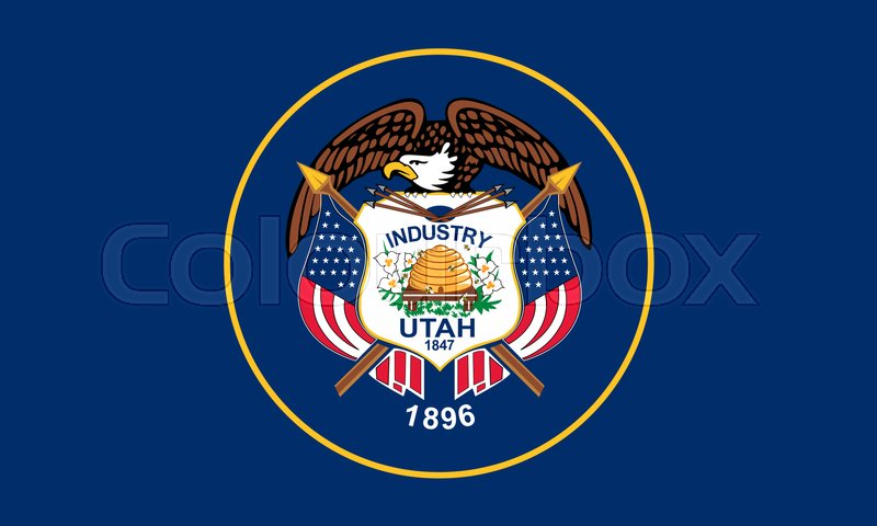 Stock image of 'Utahn official flag, symbol. American patriotic element. USA banner. United States of America background. Flag of the US state of Utah in correct size and colors, illustration'