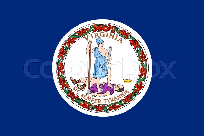 Stock image of 'Virginian official flag, symbol. American patriotic element. USA banner. United States of America background. Flag of the US state of Virginia in correct size and colors, illustration'