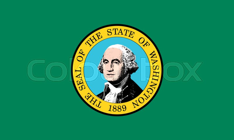 Stock image of 'Washingtonian official flag, symbol. American patriotic element. USA banner. United States of America background. Flag of the US state of Washington in correct size and colors, illustration'