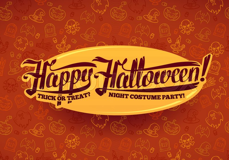 happy halloween message on bright texture brown background vector