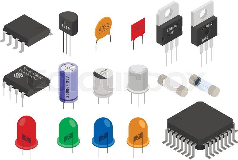 Transistor, symbol, kondensator | Vektorgrafik | Colourbox