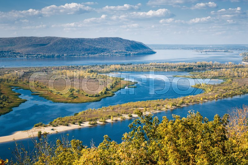 Stock image of 'View on the valley of Volga river from the hill'
