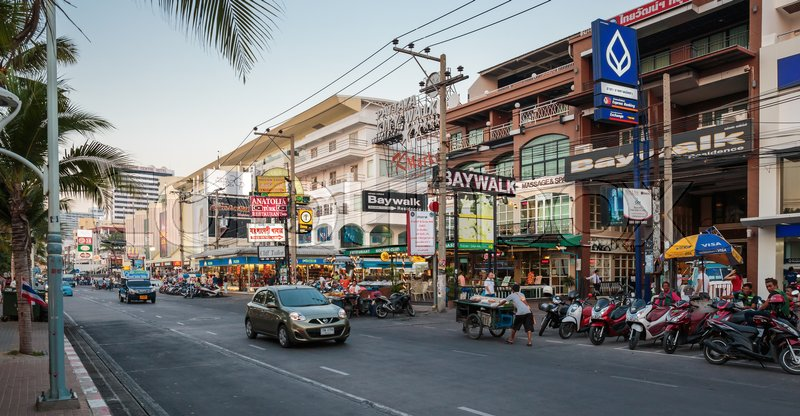 Editorial image of 'PATTAYA, THAILAND - APRIL 4, 2015: Famous Walring street evening view'