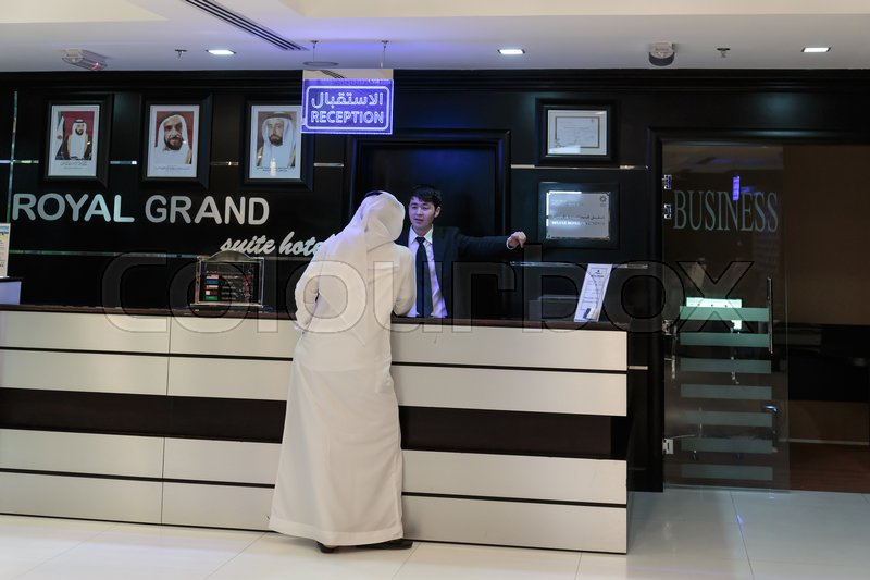 Editorial image of 'SHARJAH, UAE - NOVEMBER 4: Reception Royal Grand Suite Hotel. Hotel has 136 guestrooms. Guests can use the in-room complimentary wireless high-speed Internet access on November 4, 2013.'