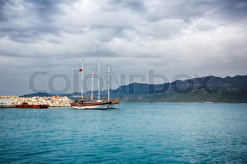 Editorial image of 'Kekova, Turkey, May 04 2014: View of the cruise touristic ship in the bay of Mediterranean sea'