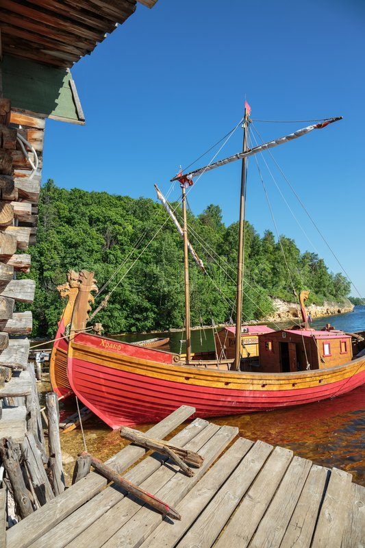 Editorial image of 'SAMARA, RUSSIA - 28 MAY, 2014: Heritage village, traditional old wooden sailing boat'