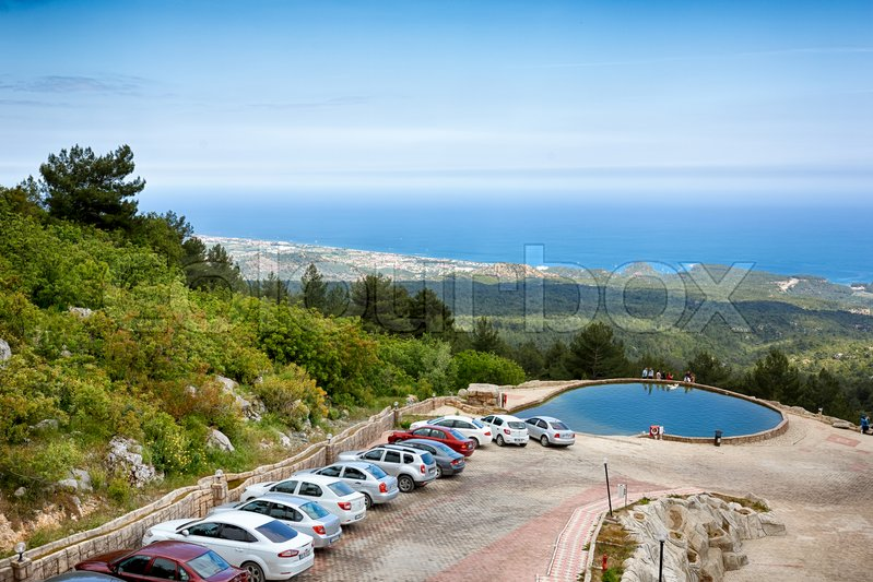 Editorial image of 'Mount of Tahtali, Turkey, May 03 2014: View from mount of Tahtali on the Mediterannean sea and parking at spring time'