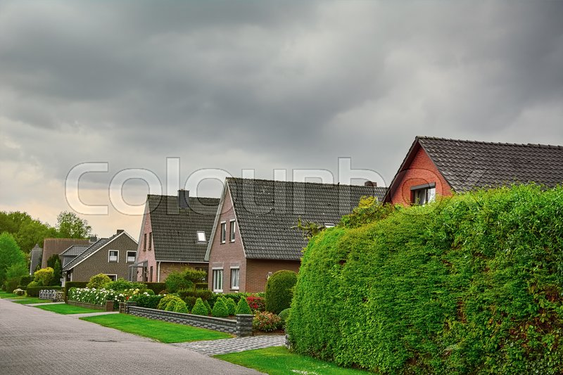 Stock image of 'Row of Two-story Houses in Small City of Germany'
