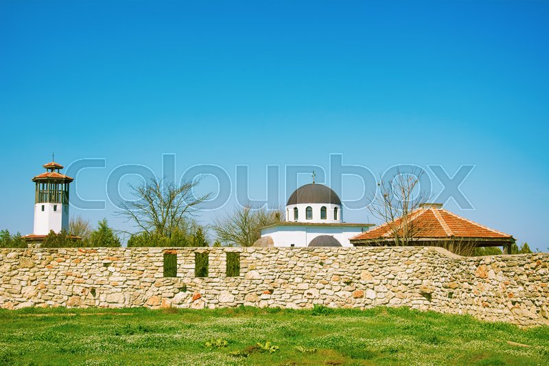 Stock image of 'An Abandoned Monastery under the Blue Sky'