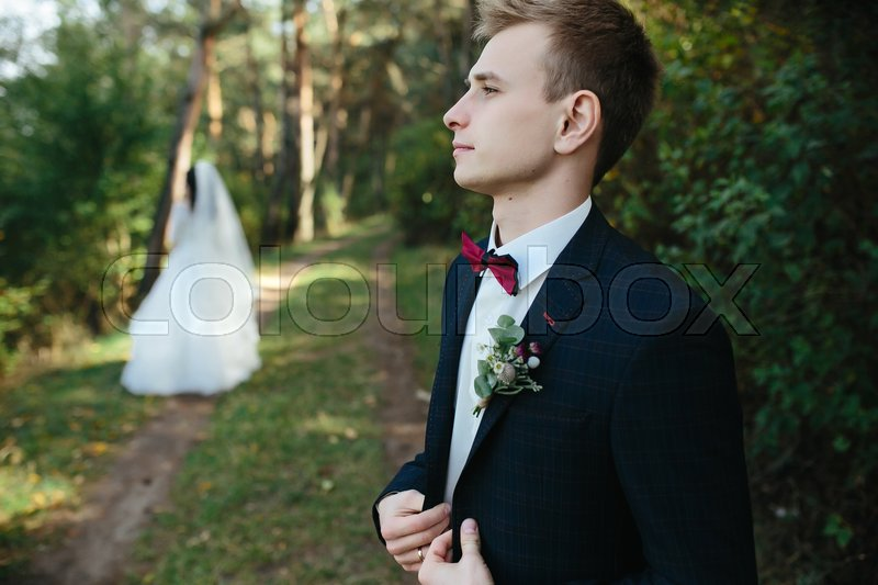 Stock image of 'Beautiful wedding couple posing in a forest'
