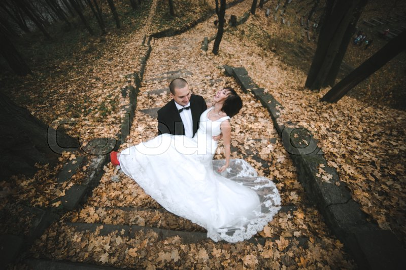 Stock image of 'happy bride and groom posing in the autumn forest'