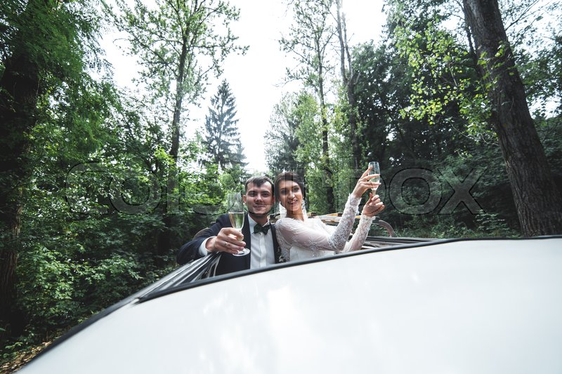 Stock image of 'the bride and groom traveling in the car'