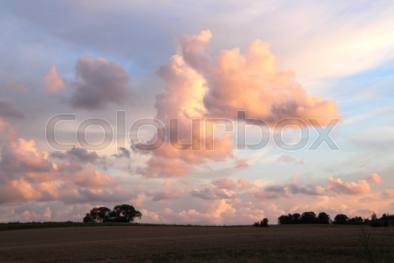 Stock image of 'Evening landscape at sunset'