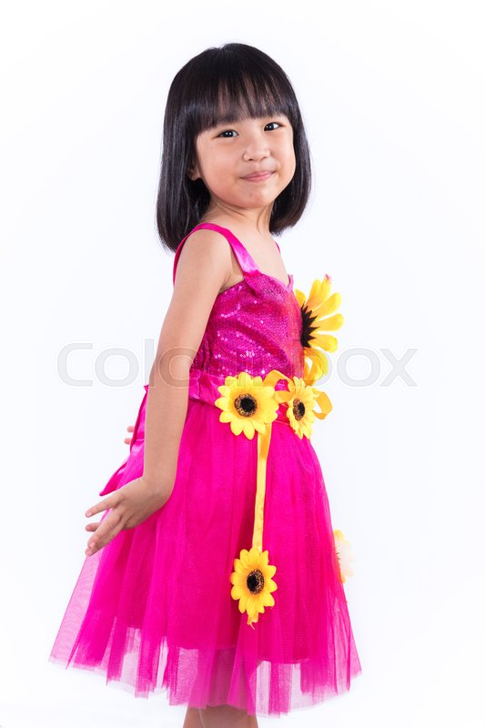 Stock image of 'Happy Asian Chinese Liitle Girl In Dancing Custome in isolated white background.'