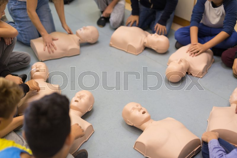 Stock image of 'First aid cardiopulmonary resuscitation course in primary school. Kids practicing on resuscitation dolls.'
