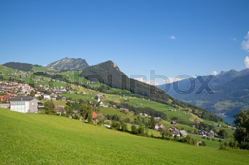Stock image of 'Summer landscape in the Walensee region (Churfirsten mountain range in Swiss Alps)'