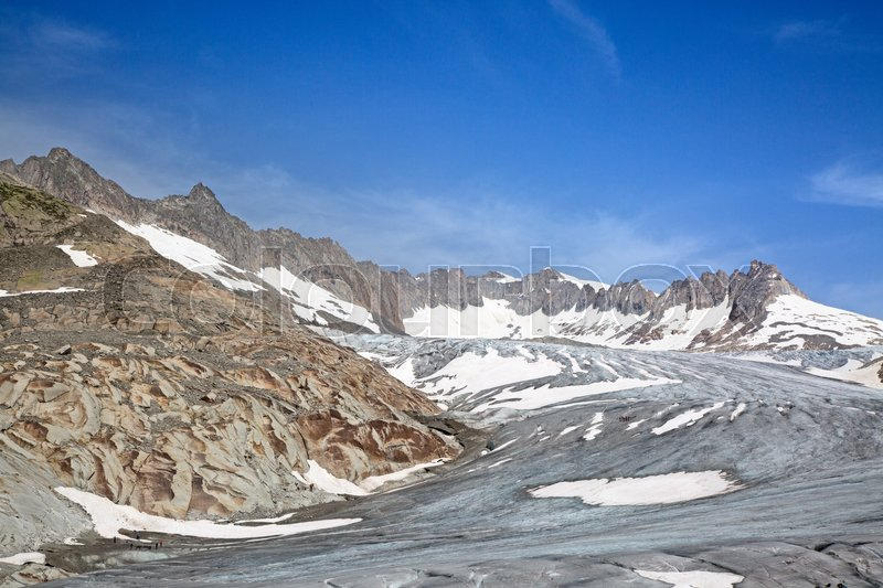 Stock image of 'Rhone glacier, source of Rhone river'