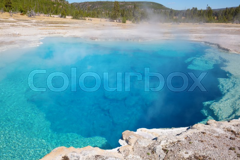 Stock image of 'Colorful hot water pool in the Yellowstone Natinal park, USA'
