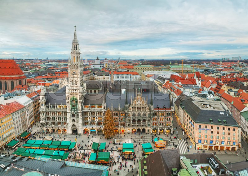 Stock image of 'MUNICH - NOVEMBER 30: Aerial view of Marienplatz on November 30, 2015 in Munich. It's the 3rd largest city in Germany, after Berlin and Hamburg, with a population of around 1.5 million.'