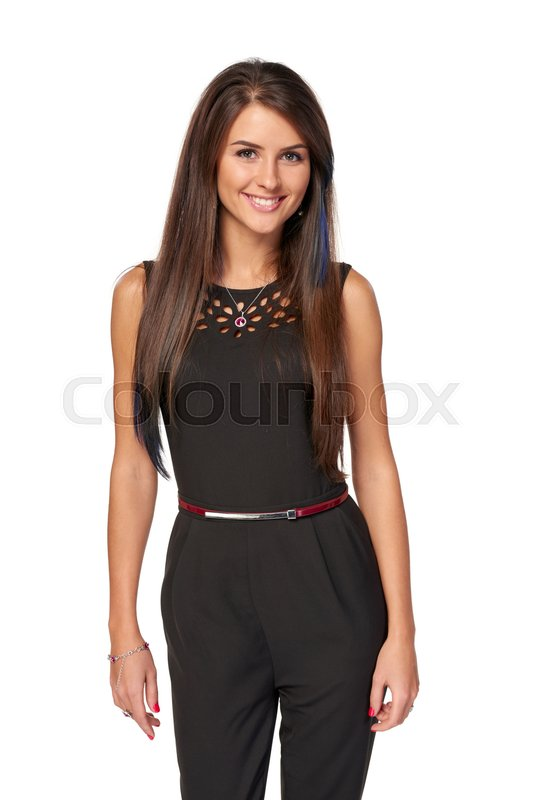 Stock image of 'Happy business woman in black standing relaxed smiling at camera'