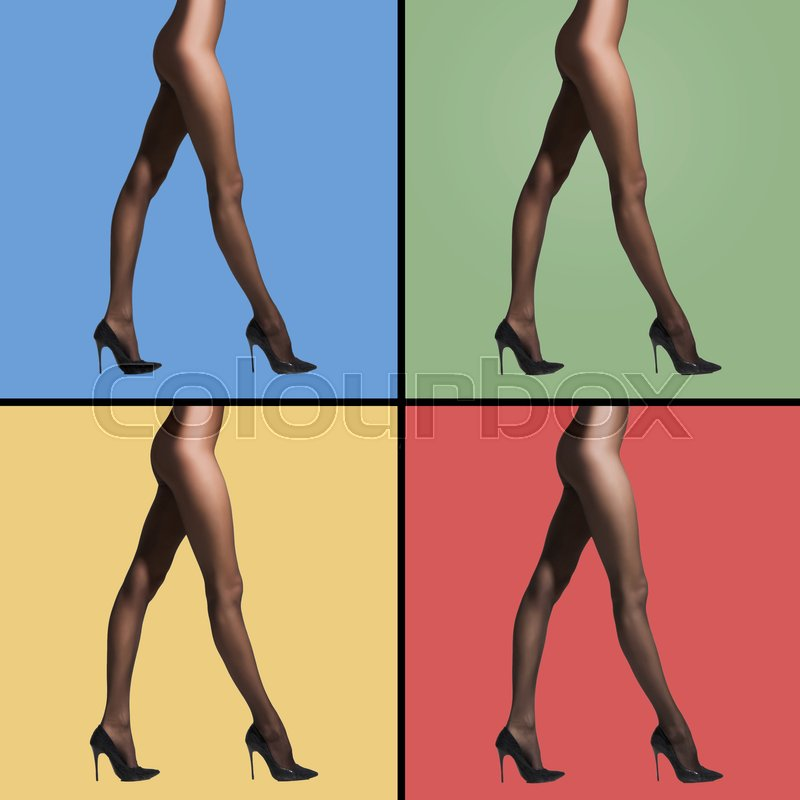 Stock image of 'Fit and sexy legs in pantyhose. Woman in hosiery. Different colors of background. Collection.'