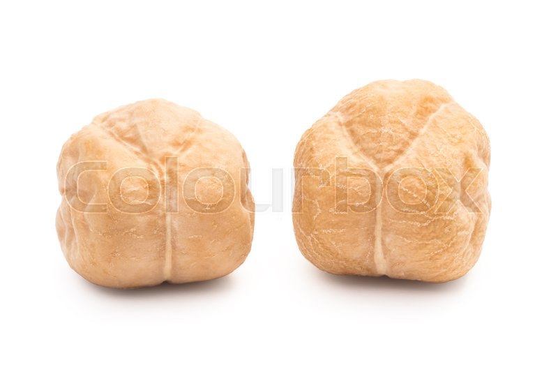 Stock image of 'Macro photo of two chickpeas with white background'
