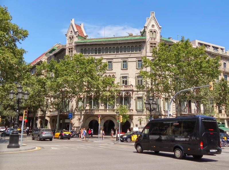 Editorial image of 'BARCELONA, SPAIN - JULY 5, 2016: Architecture along Passeig de Gracia street in Barcelona, Spain'